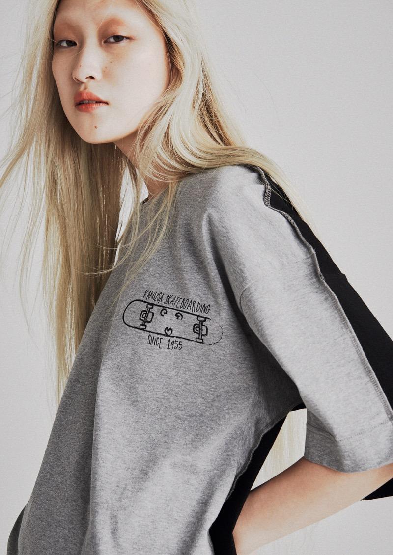 KANIZSA(カニッツァ)の2019年春夏 コレクション。シーズンテーマは設けず、服作りの基礎となるパターン・テキスタイル・縫製の三点から、物理的に存在しないブランドのアイディアを形にする。デザイナーは本田剛。